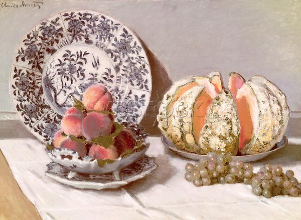 Claude Monet - Still Life with a Melon (1872). Lisbon, Museu Calouste Gulbenkian.