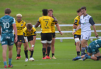 Riley Higgins celebrates his try during the 2021 Bunnings Super Rugby Aotearoa Under-20 rugby match between the Hurricanes and Highlanders at Owen Delaney Park in Taupo, New Zealand on Tuesday, 14 April 2021. Photo: Dave Lintott / lintottphoto.co.nz