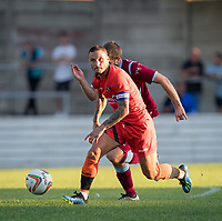 Sam Saunders of Wycombe Wanderers during the 2018/19 Pre Season Friendly match between Chesham United and Wycombe Wanderers at the Meadow , Chesham, England on 24 July 2018. Photo by Andy Rowland.