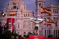 red jersey (overall leader) AND green jersey winner Primoz Roglic (SVK/Jumbo-Visma) celebrates his first ever Grand Tour win<br /> <br /> Stage 21: Fuenlabrada to Madrid (107km)<br /> La Vuelta 2019<br /> <br /> ©kramon