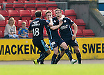 St Johnstone v Dundee...13.09.14  SPFL<br /> Thomas Konrad celebrates his goal with Simon Ferry and Paul McGowan<br /> Picture by Graeme Hart.<br /> Copyright Perthshire Picture Agency<br /> Tel: 01738 623350  Mobile: 07990 594431