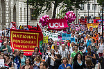 © Joel Goodman - 07973 332324 . 30/06/2011 . London , UK . Tens of thousands of public sector workers marching through Westminster during a demonstration through the City of London in protest at proposed changes to their pensions . Photo credit : Joel Goodman