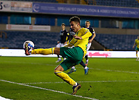 2nd February 2021; The Den, Bermondsey, London, England; English Championship Football, Millwall Football Club versus Norwich City; Dimitris Giannoulis of Norwich City attempts to keep the ball in play