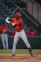 AZL Angels right fielder Trent Deveaux (17) at bat during an Arizona League game against the AZL Athletics at Tempe Diablo Stadium on June 26, 2018 in Tempe, Arizona. The AZL Athletics defeated the AZL Angels 7-1. (Zachary Lucy/Four Seam Images)