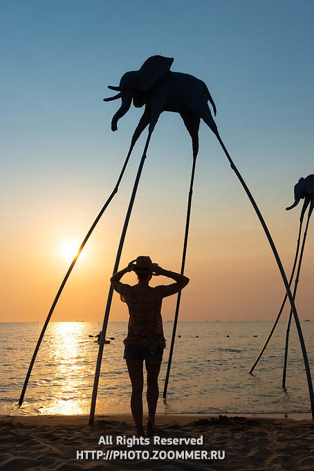 Silhouettes of elephants in Sunset Sanato beach, Phu Quoc