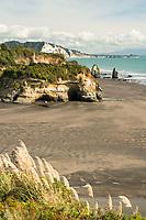 Taranaki coastline with Three Sisters rock formation and Tongaporutu River, New Plymouth, Taranaki Region, North Island, New Zealand, NZ