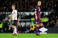 Mike van der Hoorn of Swansea City during the Sky Bet Championship match between Derby City and Swansea City at the Pride Park Stadium in Derby, England, UK. Saturday 01 December 2018
