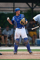 GCL Blue Jays catcher Hagen Danner (33) throws the ball back to the pitcher during a game against the GCL Pirates on July 20, 2017 at Bobby Mattick Training Center at Englebert Complex in Dunedin, Florida.  GCL Pirates defeated the GCL Blue Jays 11-6 in eleven innings.  (Mike Janes/Four Seam Images)