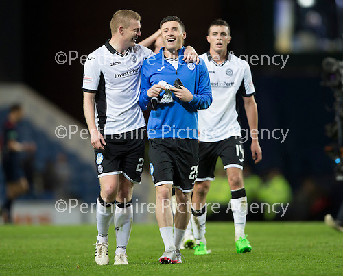 Rangers v St Johnstone...22.09.15  Scottish League Cup Round 3, Ibrox Stadium<br /> All smiles for Brian Easton and Michael O'Halloran at full time<br /> Picture by Graeme Hart.<br /> Copyright Perthshire Picture Agency<br /> Tel: 01738 623350  Mobile: 07990 594431