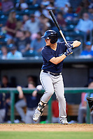 Mobile BayBears left fielder Brendon Sanger (2) at bat during a game against the Jacksonville Jumbo Shrimp on April 14, 2018 at Baseball Grounds of Jacksonville in Jacksonville, Florida.  Mobile defeated Jacksonville 13-3.  (Mike Janes/Four Seam Images)