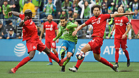 SEATTLE, WA - NOVEMBER 10: Seattle Sounders midfielder Victor Rodriguez #8 scores a goal during a game between Toronto FC and Seattle Sounders FC at CenturyLink Field on November 10, 2019 in Seattle, Washington.