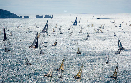 The Fastnet fleet beating westward through the Needles Channel.