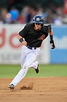 Kane County Cougars shortstop Ryan Dobson (4) runs the bases during a game against the South Bend Cubs on July 21, 2018 at Northwestern Medicine Field in Geneva, Illinois.  South Bend defeated Kane County 4-2.  (Mike Janes/Four Seam Images)