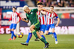 Daniel Ceballos Fernandez 'Dani Ceballos' of Real Betis Balompie fights for the ball with Saul Niguez Esclapez of Atletico de Madrid during their La Liga 2016-17 match between Atletico de Madrid vs Real Betis Balompie at the Vicente Calderon Stadium on 14 January 2017 in Madrid, Spain. Photo by Diego Gonzalez Souto / Power Sport Images