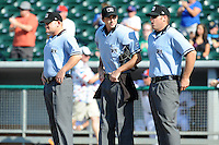 Southern League Umpires Jonathan Bailey, Thomas Newsom and Spencer Flynn (L-R) before game one of a double header between the Pensacola Blue Wahoos and the  Tennessee Smokies at Smokies Park on July 30, 2012 in Kodak, Tennessee. The Smokies defeated the Blue Wahoos 6-3 in game one and 3-2 in game two. (Tony Farlow/Four Seam Images).