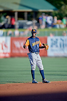 Jorge Mateo (14) of the Las Vegas Aviators on defense against the Salt Lake Bees at Smith's Ballpark on July 20, 2019 in Salt Lake City, Utah. The Aviators defeated the Bees 8-5. (Stephen Smith/Four Seam Images)