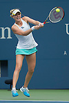 Alison Riske (USA) battles against Daniela Hantuchova (SVK) before the rain delay at the US Open being played at USTA Billie Jean King National Tennis Center in Flushing, NY on September 2, 2013