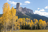 """Courthouse Mountain and Chimney Peak, above Deb's Meadow - home to the shootout scene at the end of John Wayne's """"True Grit."""""""