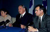 FILE -  <br /> Jacques Parizeau et Lucien Bouchard en conference de presse,durant la campagne referendaire de 1995 (date inconnnue)<br /> <br /> PHOTO : Agence Quebec Presse