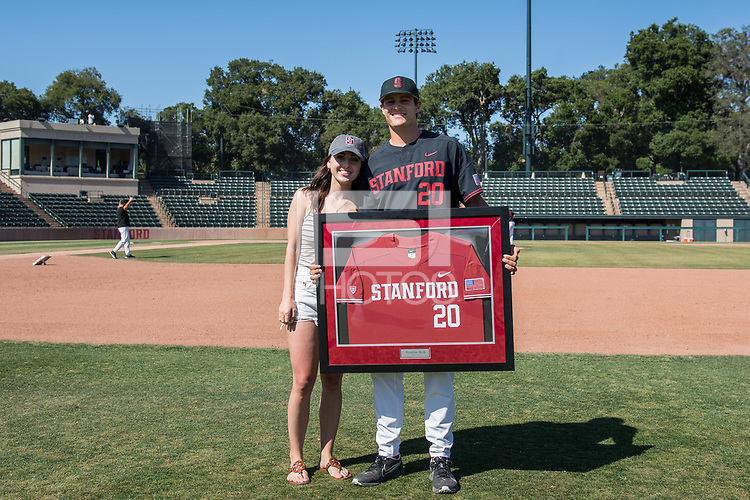 STANFORD, CA - MAY 29: Brendan Beck and family after a game between Oregon State University and Stanford Baseball at Sunken Diamond on May 29, 2021 in Stanford, California.