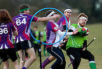 08 MAR 2015 - NOTTINGHAM, GBR - Alexander Greenhalgh (right) of Keele Squirrels looks for a chance to shoot during the 2015 British Quidditch Cup bronze medal match against Loughborough Longshots at Woollaton Hall and Deer Park in Nottingham, Great Britain (PHOTO COPYRIGHT © 2015 NIGEL FARROW, ALL RIGHTS RESERVED)