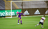 LOS ANGELES, CA - SEPTEMBER 23: Pablo Sisniega #23 GK of the LAFC moves with the ball during a game between Vancouver Whitecaps and Los Angeles FC at Banc of California Stadium on September 23, 2020 in Los Angeles, California.