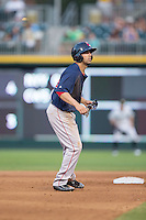 Deven Marrero (16) of the Pawtucket Red Sox takes his lead off of second base against the Charlotte Knights at BB&T BallPark on July 6, 2016 in Charlotte, North Carolina.  The Knights defeated the Red Sox 8-6.  (Brian Westerholt/Four Seam Images)
