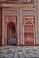 Fatehpur Sikri, Uttar Pradesh, India.  View inside the Archway of the main entrance to the Jama Masjid Prayer Hall.  Islamic Geometric Decoration and Calligraphy.