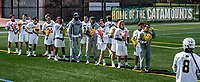1 May 2021: Seniors of the University of Vermont Catamount Men's Lacrosse Team await introduction prior to a game against the Stony Brook University Seawolves at Virtue Field in Burlington, Vermont. The Cats edged out the Seawolves 14-13 with less than one second to play in their America East Men's Lacrosse matchup. Mandatory Credit: Ed Wolfstein Photo *** RAW (NEF) Image File Available ***