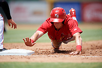 Palm Beach Cardinals designated hitter Conner Capel (8) slides into third base during a game against the Jupiter Hammerheads on August 5, 2018 at Roger Dean Chevrolet Stadium in Jupiter, Florida.  Jupiter defeated Palm Beach 3-0.  (Mike Janes/Four Seam Images)