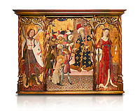 Gothic altarpiece depicting left to right - the Archangel Gabriel, the martyrdom of Santa Eulalia and St Caterina, by Bernat Martorell, circa 1442-1445, Temperal and gold leaf on wood.  National Museum of Catalan Art, Barcelona, Spain, inv no: MNAC  1442. Against a white background.