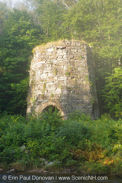 Stone Iron Furnace in Franconia, New Hampshire on a foggy day. Originally built in the early 1800s this is the only blast furnace still standing in New Hampshire. It was used for smelting iron ore.