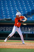 Hector A Candelas (4) of Leadership Christian Academy in Carolina, PR during the Perfect Game National Showcase at Hoover Metropolitan Stadium on June 19, 2020 in Hoover, Alabama. (Mike Janes/Four Seam Images)