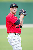 Kannapolis Intimidators starting pitcher Sean Bierman (26) warms up in the outfield prior to the game against the Greenville Drive at CMC-Northeast Stadium on April 6, 2014 in Kannapolis, North Carolina.  The Intimidators defeated the Drive 8-5.  (Brian Westerholt/Four Seam Images)