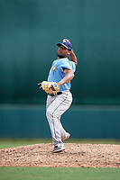 Tampa Bay Rays pitcher Orlando Romero (82) delivers a pitch during an Instructional League game against the Baltimore Orioles on October 5, 2017 at Ed Smith Stadium in Sarasota, Florida.  (Mike Janes/Four Seam Images)