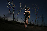 April 2, 2015. La Costa, CA. USA|Jing Lytle in burnt area of Avira CA.| Photos by Jamie Scott Lytle