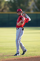 AZL Angels shortstop Jeremiah Jackson (8) warms up before an Arizona League game against the AZL Giants Black at the San Francisco Giants Baseball Complex on July 1, 2018 in Scottsdale, Arizona. AZL Giants Black defeated the AZL Angels 4-2. (Zachary Lucy/Four Seam Images)