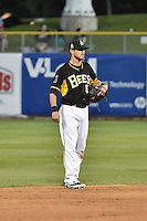 Shawn O'Malley (5) of the Salt Lake Bees on defense against the Fresno Grizzlies at Smith's Ballpark on May 25, 2014 in Salt Lake City, Utah.  (Stephen Smith/Four Seam Images)
