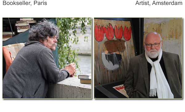 Street photography. Bookseller (Paris) and artist (Amsterdam).