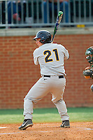 Nick Octavi (21) of the Virginia Commonwealth Rams at bat against the Charlotte 49ers at Robert and Mariam Hayes Stadium on March 30, 2013 in Charlotte, North Carolina.  The Rams defeated the 49ers 4-3 in game two of a double-header.  (Brian Westerholt/Four Seam Images)