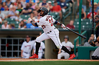 Rochester Red Wings Jordany Valdespin (23) at bat during an International League game against the Scranton/Wilkes-Barre RailRiders on June 24, 2019 at Frontier Field in Rochester, New York.  Rochester defeated Scranton 8-6.  (Mike Janes/Four Seam Images)
