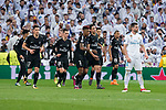 Real Madrid XXX and PSG Neymar Jr, Yuri Bereiche, Giovani Lo Celso, Presnel Kimpembe, Adrien Rabiot and Kylian Mbappe celebrating a goal during Eight Finals Champions League match between Real Madrid and PSG at Santiago Bernabeu Stadium in Madrid , Spain. February 14, 2018. (ALTERPHOTOS/Borja B.Hojas)