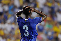 Maynor Figueroa (3) of Honduras reacts to a missed scoring opportunity during an international friendly between the men's national teams of Colombia (COL) and Honduras (HON) at Red Bull Arena in Harrison, NJ, on September 03, 2011.
