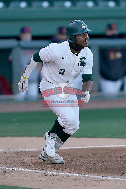 Right fielder Zaid Walker (3) of the Michigan State Spartans in a game against the Maryland Terrapins on Saturday, March 6, 2021, at Fluor Field at the West End in Greenville, South Carolina. (Tom Priddy/Four Seam Images)