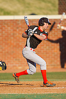 Jake Thomas (8) of the Bowling Green Falcons follows through on his swing against the High Point Panthers at Willard Stadium on March 9, 2014 in High Point, North Carolina.  The Falcons defeated the Panthers 7-4.  (Brian Westerholt/Four Seam Images)