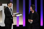 French film director Francois Ozon receives from Christine Vachon the Golden Shell best film award during the Awards Gala in the 60th San Sebastian Donostia International Film Festival - Zinemaldia.September 29,2012.(ALTERPHOTOS/ALFAQUI/Acero)