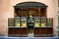 Old style 18th century jewelry shop front , Lucca, Tunscany, Italy