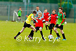 Tadgh Healy of Park B challenging the Camp United keeper Dean Goodwin in the first U14 game as they return to the U14 soccer league in Christy Leahy Park on Bank Holiday Monday.