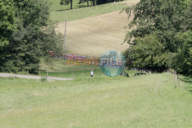 The peloton climb the 1st Col during Stage 3 of the Route d'Occitanie 2020, running 163.5km from Saint-Gaudens to Col de Beyrède, France. 3rd August 2020. <br /> Picture: Colin Flockton   Cyclefile<br /> <br /> All photos usage must carry mandatory copyright credit (© Cyclefile   Colin Flockton)