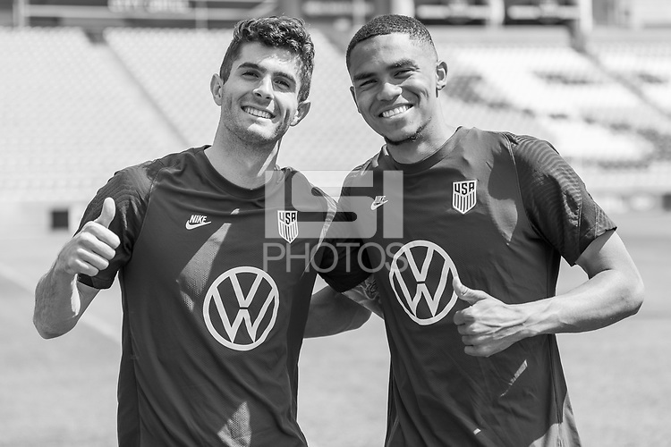 SANDY, UT - JUNE 8: Reggie Cannon, Christian Pulisic of the United States during a training session at Rio Tinto Stadium on June 8, 2021 in Sandy, Utah.